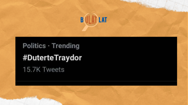 #DuterteTraydor trends on Twitter amid continuing tension in West PH Sea